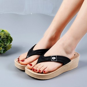 Thick Bottom Flip Flop Casual Women Slippers - Black