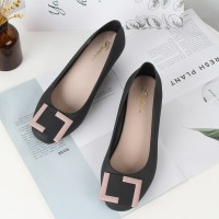 Square Buckle Patched Slip Over Flat Shoes - Black