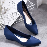 Solid Color V Shaped Style Casual Wear Shoes For Women - Blue