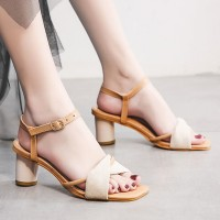 Ankle Strap Thick Heels Sandals For Women - Apricot