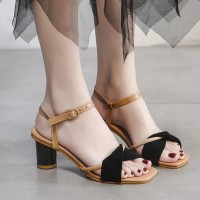 Ankle Strap Thick Heels Sandals For Women - Black
