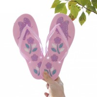 Floral Printed Summer Fashion Women Flip Flop Slippers - Pink