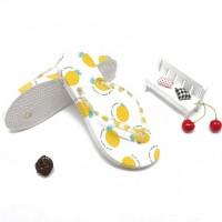 Fruit Prints Flip Flop Beach Wear Women Fashion Slippers - Yellow