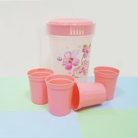 Beautiful Design Plastic Water Jug With 4 Pcs Tumblers - Light Pink