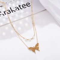 Carved Butterfly Chain Gold Plated Pearl Jewellery Necklace - Golden