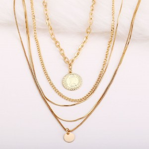 Multilayered Gold Plated Women Fashion Pendant Necklace