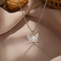 Butterfly Carved Silver Plated Women Fashion Jewellery Necklace
