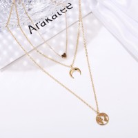 Multi Layered Gold Plated Women Fashion Jewellery Chain Necklace