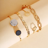 Chain Braided Gold Plated Women Fashion Jewellery Bracelets