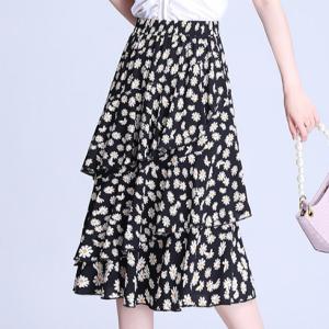 Floral Printed A-Line Summer Wear Skirt - Black