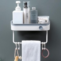 Shelf Contrast Plastic Hooks Storage Bathroom Rack - Gray