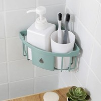 Easy Wall Adhesive Bathroom Essential Corner Rack - Green