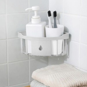 Easy Wall Adhesive Bathroom Essential Corner Rack - White