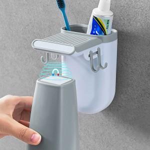 Easy Hooked Toothbrush Creative Modern Design Rack - Gray