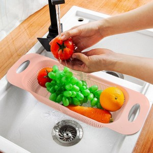 Drainable Fancy Sink Fitted Portable Basket - Pink