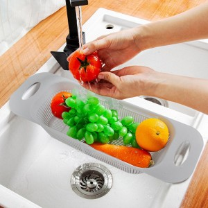 Drainable Fancy Sink Fitted Portable Basket - Gray