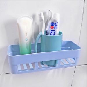 High Quality Plastic Wall Adhesive Bathroom Rack - Blue