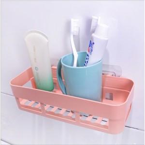 High Quality Plastic Wall Adhesive Bathroom Rack - Pink