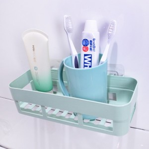High Quality Plastic Wall Adhesive Bathroom Rack - Green