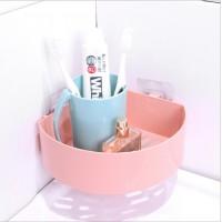 Plastic Adhesive Corner Bathroom Rack - Pink