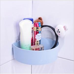 Plastic Adhesive Corner Bathroom Rack - Blue