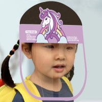 Unicorn Prints Anti Splash Germ Resistant Kids Face Shield - Purple