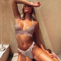 Strapped Two Pieces Lace Textured Lingerie Set - White