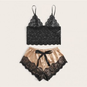 Lace Bridal Bra With Satin Casual Shorts - Beige