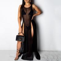 See Through Thin Fabric Women Sexy Outwear Lingerie - Black