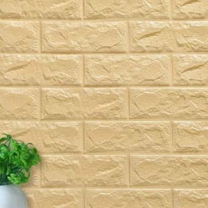 Easy Adhesive 3D Bricks Textured Wall Stickers - Yellow