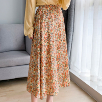 Floral Printed Elastic Waist Women Fashion Skirt - Orange