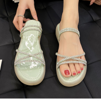 Crystal Decorative Strapped Women Party Wear Sandals - Green