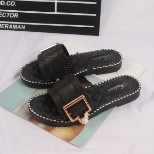 Patchwork Pearl Decorative Buckle Party Wear Slippers - Black