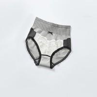 Nylon Classic Briefs Lace Trim Fashion Women Underwear - Gray