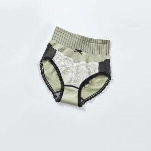 Nylon Classic Briefs Lace Trim Fashion Women Underwear - Green