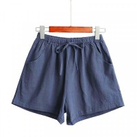 String Waist Loose Casual Wear Women Shorts - Blue