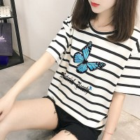 Round Neck Buttefly Striped Prints Short Sleeves T-Shirt - White