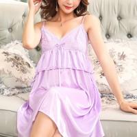 Flared Sleepwear Satin Spaghetti Strapped Nightwear Lingerie Set - Light Purple