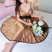 Satin Lace Waist Sexy Nightwear Lingerie Set - Brown