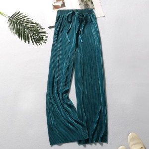 String Waist Ribbed Straight Bottom Casual Trousers - Green