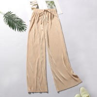 String Waist Ribbed Straight Bottom Casual Trousers - Khaki
