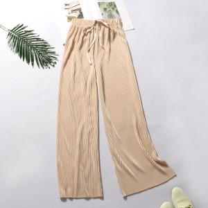 String Waist Ribbed Straight Bottom Casual Trousers - Khaki