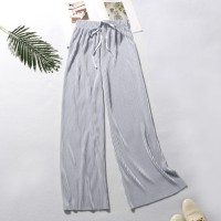 String Waist Ribbed Straight Bottom Casual Trousers - Gray