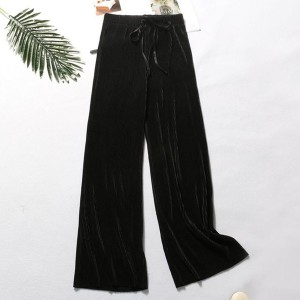 String Waist Ribbed Straight Bottom Casual Trousers - Black