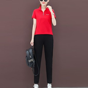 Solid Color Zipper Fashion Style Casual Two Pieces Suit For Women - Red