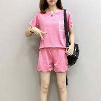 Round Neck Two Pieces Sports Wear Suit - Pink