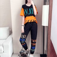 Printed Colorful Sports Wear Two Pieces Suit - Black
