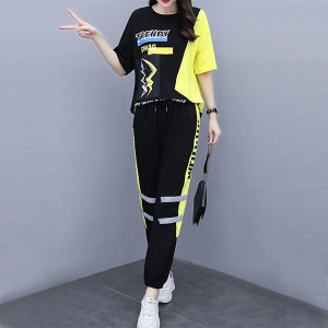 Contrast Printed Sports Wear Two Pieces Suit - Black