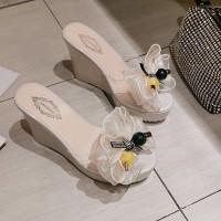 Bow Thick Sole Bottom Fashion Women Sandals - White