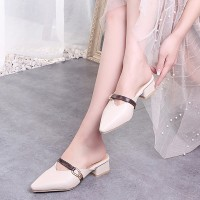 Pointed Thick Square Bottom Women Fashion Heels - White